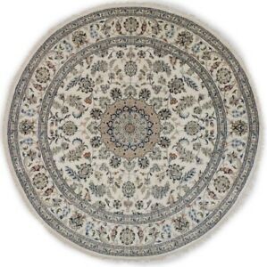 Floral Design Classic Nain 8X8 Hand-Knotted Wool Oriental Round Rug Décor Carpet