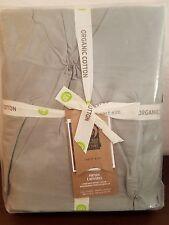West Elm Organic Cotton Pintuck Duvet Cover Full Queen Feather Grey NEW