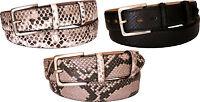 Cintura vero Pitone fodera vera pelle cuoio nabuk 4 cm accorciabile, fori ovali