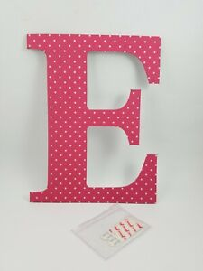 """Pottery Barn Teen Wall Letter E w/ Adhesive Strips 12"""" Bright Pink #4011"""