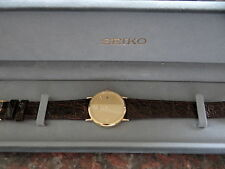 GENTS SEIKO 9CT SOLID GOLD QUARTZ WATCH MINTY CONDITION BOXED INNER & OUTER