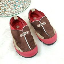 Crocs Boys Dawson Clogs Size 1 Red Brown Suede Rubber Slip On Casual Shoes oT3