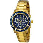 Invicta II Chronograph Blue Dial 18kt Gold-plated Mens Watch 1205