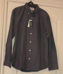 Penguin Designer Dark Sapphire Casual Mens Long Sleeved Shirt