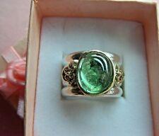 Sterling Silver W/14k Gold Bezel Green Tourmaline Floral Ring skaisOCT17