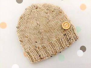 Hand Knitted Newborn 0000 Baby Boy Girl Winter Beige Beanie Hat, Aust Pure Wool