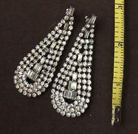 """3""""  Vintage Statement Dangle Drop Silver Tone Rhinestone Earrings"""