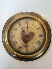 """Rooster Wall Mount Clock Antique Style Home Decor 12.5"""" Round."""