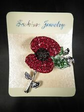 Poppy Brooch with Silver or Gold Leaf UK SELLER