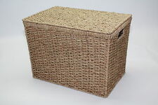 Seagrass Lidded Storage Chest Trunk Basket  Box Shoes Large Bedroom Green Office
