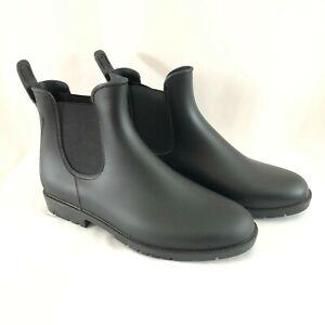 Womens Chelsea Rain Boots Rubber Slip On Black Size 10