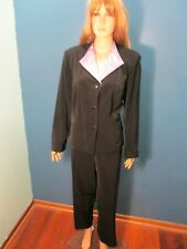 Size 16W black PANTSUIT SET with purple SATIN COLLAR by SAG HARBOR DRESS