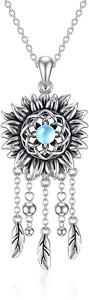 Dream Catcher Sunflower Necklace Moonstone 925 Sterling Silver Dangling Pendant