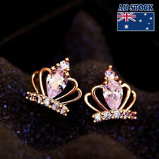 925 Sterling Silver Ladies Cute Lovely Crystal Princess Crown Stud Earrings