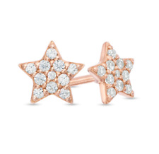 1/8 CT. T.W. Diamond Dainty Star Stud Earrings in 14K Rose Yellow or White Gold