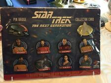 VINTAGE STAR TREK THE NEXT GENERATION PIN BADGE  COLLECTORS CARD