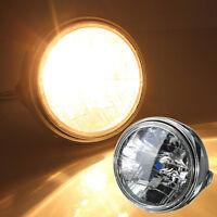 "12V 7"" Motorcycle Round  H4 Bulb Headlight Headlamp Side Mount Style Warm White"
