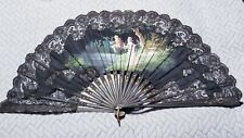 Large Antique Ornate Hand Painted Man Lady Couple Fishing Signed Black Lace Fan