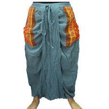 GENIE/HAREM/GYPSY COTTON POCKET-SIDE DROP CROTCH SKIRT-LIKE LONG PANTS  EL441