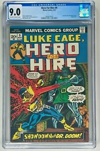 HERO FOR HIRE #9 CGC 9.0 VF/NM (MARVEL 1973) 🔑 LUKE CAGE VS DOCTOR DOOM 🔥