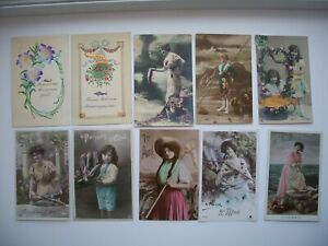 Lot of 19 Postcard April Fool's Day / Poisson d'Avril Greetings