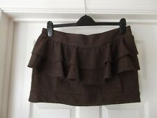 RIVER ISLAND Winter Skirt Brown/Grey with Bronze Glitter Shimmer Mini UK Size 14