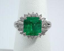 2.38ct EMERALD & DIAMOND PLATINUM Ring - R9554