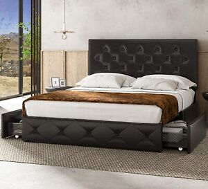 Queen Size Faux Leather Bed Upholstered Frame with 4 Storage Drawers