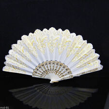 New Spanish Style White Flower Lace Folding Hand Dancing Wedding Party Decor Fan