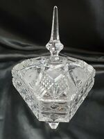 uniquely shaped triangle dish w/ lid Polish or German lead cut frosted crystal