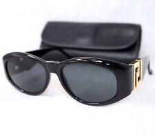 GIANNI VERSACE T24 sunglasses vintage oval black gold big logo baroque on sides