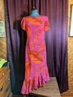 NEW Russell Kemp Pink Orange Leaf Print Asymmetric Dress Women 4 NWT Closet78*