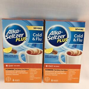 Alka-Seltzer Plus Severe Cold & Flu Non Drowsy Day Packets, Lemon 6 Ct Exp 01/23