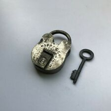 brass padlock lock with key old antique vintage small miniature HOPPS & Co.