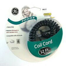 GE 12 Foot Black Coil Phone Cord Heavy Duty 86177 Compatible With All Brands NEW