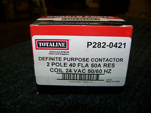 Totaline Definite Purpose Contactor 2 Pole 40 FLA 50A Res Coil P282-0421 New