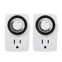 Indoor 24-Hour Mechanical Outlet Timer, 3 Prong, 2-Pack