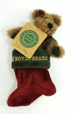 Boyds Bear Felicity in Red Green Christmas Stocking Jointed Plush Teddy Bear