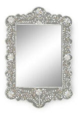 Antique Mirror Frame Mother of Pearl Gray Floral Design Mirror Frame Gray Color