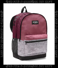 Victorias Secret Pink Campus Backpack Bookbag Maroon Orchid Gray Marl Marled
