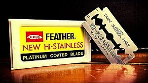 50, 100 FEATHER Double Edge Razor Platinum Coat Blades Hi Stainless Hair Styling