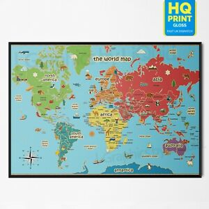 KIDS EDUCATIONAL SCHOOL ANIMAL MAP OF THE WORLD POSTER PRINT | A5 A4 A3 A2 |