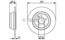BOSCH Juego de 2 discos freno Trasero 302mm VOLVO V70 S80 XC70 0 986 479 396