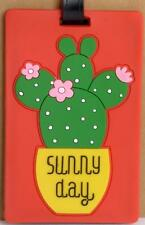 Luggage Tag Silicone Easy to Find Bright Colorful and Fun Cactus Flower