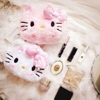 Cute Hello Kitty My Melody Cosmetic Plush Bag Make Up Toiletry Bag Case Kawaii