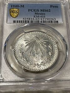 1940 Mexico MS 62 Peso Cap & Rays PCGS SECURE Gold SHIELD MS62 Beautiful COIN