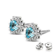 Solid 925 Sterling Silver Blue Sapphire Cz Love Heart Ear Stud Earrings Jewelry