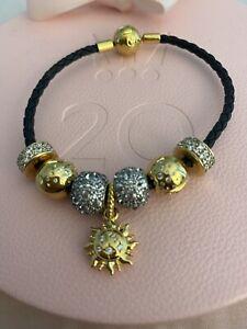 Pandora Black Leather 19cm Shine Gold Bracelet With Charms