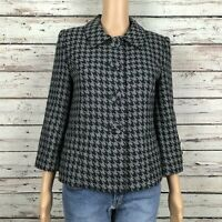Style & Co Houndstooth Blazer Jacket Size 4 Black Gray Full Button Front Lined
