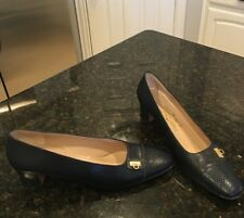 Salvatore Ferragamo Sz 9.5 AAA Navy Blue Lizard Toe Medium High Heel Shoes Pumps